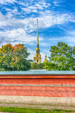 Spire  bell tower  Peter and Paul Cathedral  fortress wall St.-P Stock Images