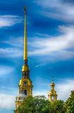 Spire  bell tower  Peter and Paul Cathedral in St. Petersburg Stock Image