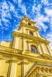 Spire  bell tower  Peter and Paul Cathedral in St. Petersburg Royalty Free Stock Photo