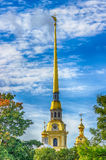Spire  bell tower  Peter and Paul Cathedral in St. Petersburg Stock Images