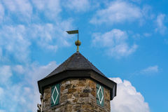 Spire of Castle Hetterscheidt in Heiligenhaus. District Hetterscheidt, at Abtskuecher pond Royalty Free Stock Photos