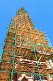 The spire of the Catholic Church in scaffolding Royalty Free Stock Photography