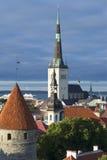 The spire of the Church of Oleviste. Old Tallinn Stock Photos