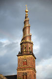 The spire of the Church of Our Saviour in Copenhagen. Royalty Free Stock Photos