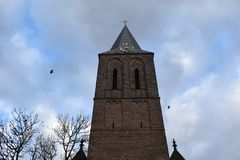 Spire of a Dutch church stock images