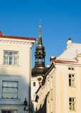 Spire of the Dome Church in Tallinn. View of the spire of the Dome Church in Tallinn royalty free stock images