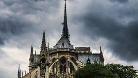 Spire and east side of Notre-Dame cathedral gothic style in architecture, travel. Stock footage stock video footage