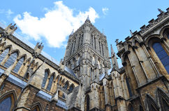 Spire at Lincoln Cathedral, England Stock Photos