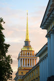 The spire of the main building of the Admiralty. The symbol of Saint-Petersburg Royalty Free Stock Image