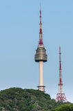 The spire of N Seoul Tower, or Namsan Tower in Seoul,South Korea Royalty Free Stock Image