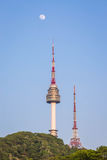 The spire of N Seoul Tower, or Namsan Tower,. South Korea Royalty Free Stock Photos