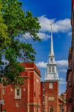 Spire of Old North Church with historical buildings in North End. Spire of Old North Church among historical buildings in North End of Boston, USA royalty free stock photos