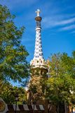 Spire of pavilion at Park Guell in Barcelona Stock Photo