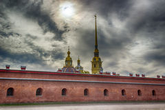 Spire  Peter and Paul Cathedral bell tower fortress wall St.-Pet Royalty Free Stock Photography