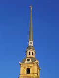 Spire of the Peter and Paul Cathedral. Saint Petersburg Stock Photo