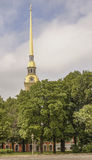 The spire of the Peter and Paul Cathedral in St. Petersburg Royalty Free Stock Image