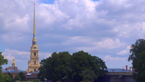 The spire of the Peter and Paul Fortress stock footage