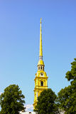 Spire of Peter and Paul Fortress in St. Petersburg Stock Images