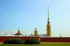Spire of Peter and Paul Fortress in St. Petersburg Royalty Free Stock Photo
