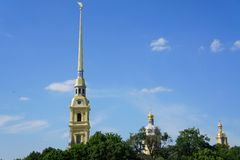 The spire of the Peter and Paul Fortress. View of the Peter and Paul church in St. Petersburg Stock Photography