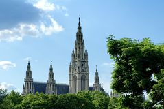 Spire of the rathaus in Vienna royalty free stock photos
