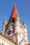 Spire of St. Francis of Assisi Church. In Vienna, Austria Royalty Free Stock Images