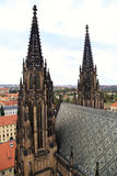 The spire of stone towers of St. Vitus Cathedral , Prague, Czech Stock Image