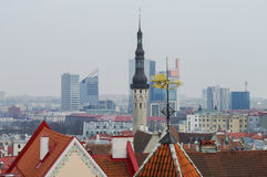 Spire of town hall and roof of Tallinn old medieval city. Skyscr Royalty Free Stock Image