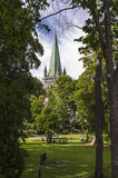 The spire of Trondheim Cathedral Royalty Free Stock Image