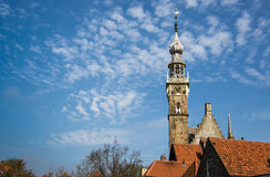 Spire of Veere Courthouse in vintage historic town in Netherlands Stock Image