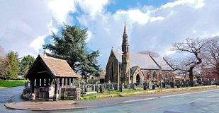 A Spired Village Church With Lychgate In England UK stock photography