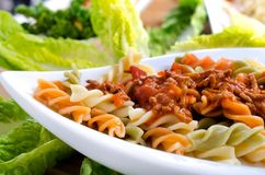 Spirelli with bolognaise Stock Image