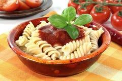 Spirelli with tomato sauce Stock Image