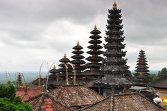 Spires in Balinese temple. Towers with tiered, pagoda-like roofs in Mother Temple of Besakih (Pura Besakih). Pura Besakih is the most important Hindu temple on royalty free stock photo