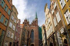 Spires of St Marys Church Cathedral, Gdansk, Poland royalty free stock photos