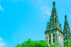 Spires of basilica in Vysehrad castle. With copy space. Prague, Czech Republic Stock Photography