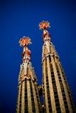 Spires of the Church Sagrada Familia stock images