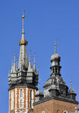 Spires of church towers. The spires on the towers of St Mary (Mariacki) gothic church in Krakow, Poland Royalty Free Stock Image