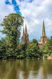 Spires of Lichfield cathedral Royalty Free Stock Photography