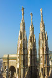 Spires  of Milan cathedral Royalty Free Stock Images