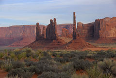 Spires in Monument Valley. With desert plants in the foreground Stock Photo
