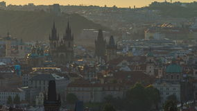 Spires of the old town and tyn church at sunrise timelapse. czech republic, prague. View from Strahov Monastery at dawn stock video footage