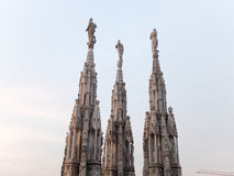 Spires and Statues of Milan Cathedral at Sunset Royalty Free Stock Photography