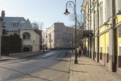 Spiridonovka street. MOSCOW, RUSSIA - APRIL 12. 2016:. Renovated (2015) Spiridonovka street in Moscow, Russia. Historic picturesque street royalty free stock photography