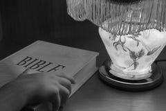 Spirit. An image with bible and lamp Stock Photos