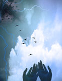 Spirit. Hands gesture toward birds in flight abstract Royalty Free Stock Images