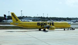 Spirit Airbus 321 taking off Cancun Airport Mexico stock photography