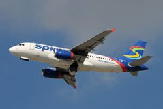 Spirit Airlines Airbus A-319 jet in flight Stock Image