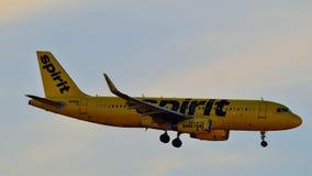 Spirit Airlines-vliegtuig het landen stock afbeeldingen