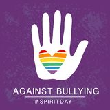 Spirit day violet, purple color poster, with rainbow heart in hand. Against bullying. stock illustration